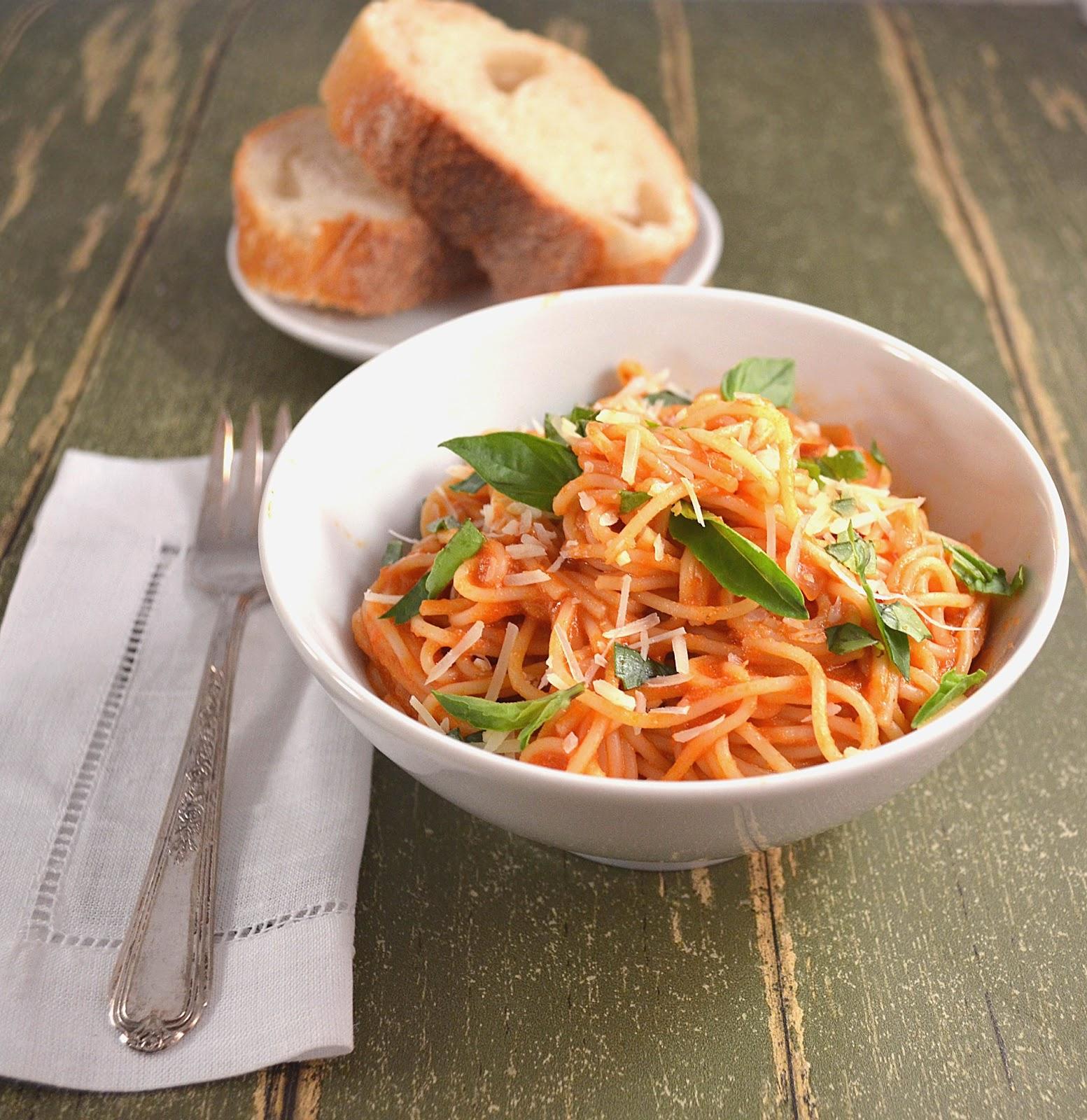 Pasta with a Light Tomato-Basil Cream Sauce | Vintage Kitchen