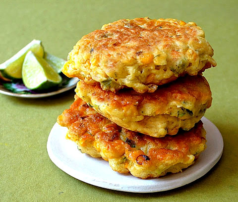corn fritters with herbs