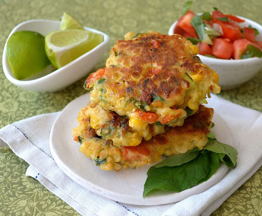 fritters with salsa