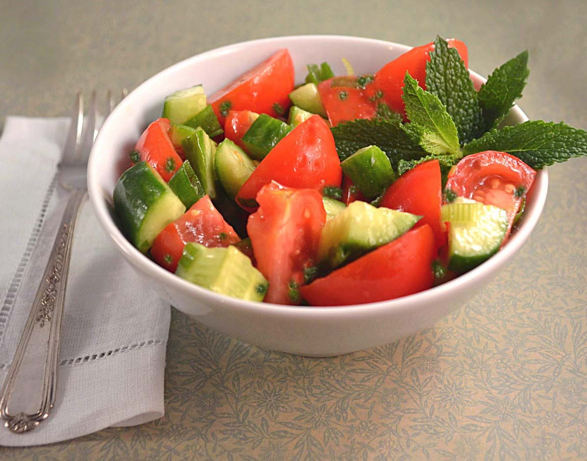 Chopped Tomato And Cucumber Salad Recipe With Mint, Feta ...